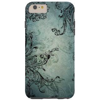 Elegant Black Engraved Swirls on Blue Tough iPhone 6 Plus Case