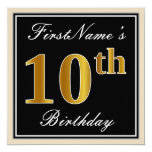 [ Thumbnail: Elegant, Black, Faux Gold 10th Birthday + Name Invitation ]