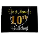 [ Thumbnail: Elegant, Black, Faux Gold 10th Birthday + Name Gift Bag ]