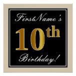 [ Thumbnail: Elegant, Black, Faux Gold 10th Birthday + Name Poster ]
