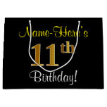 [ Thumbnail: Elegant, Black, Faux Gold 11th Birthday + Name Gift Bag ]