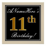 [ Thumbnail: Elegant, Black, Faux Gold 11th Birthday + Name Poster ]