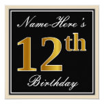 [ Thumbnail: Elegant, Black, Faux Gold 12th Birthday + Name Invitation ]