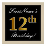 [ Thumbnail: Elegant, Black, Faux Gold 12th Birthday + Name Poster ]