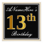 [ Thumbnail: Elegant, Black, Faux Gold 13th Birthday + Name Invitation ]