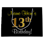 [ Thumbnail: Elegant, Black, Faux Gold 13th Birthday + Name Gift Bag ]