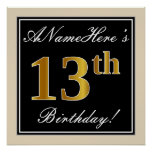 [ Thumbnail: Elegant, Black, Faux Gold 13th Birthday + Name Poster ]