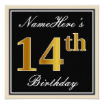 [ Thumbnail: Elegant, Black, Faux Gold 14th Birthday + Name Invitation ]