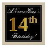 [ Thumbnail: Elegant, Black, Faux Gold 14th Birthday + Name Poster ]