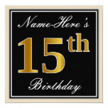 [ Thumbnail: Elegant, Black, Faux Gold 15th Birthday + Name Invitation ]