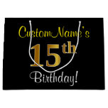 [ Thumbnail: Elegant, Black, Faux Gold 15th Birthday + Name Gift Bag ]