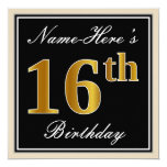 [ Thumbnail: Elegant, Black, Faux Gold 16th Birthday + Name Invitation ]
