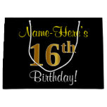 [ Thumbnail: Elegant, Black, Faux Gold 16th Birthday + Name Gift Bag ]