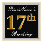 [ Thumbnail: Elegant, Black, Faux Gold 17th Birthday + Name Invitation ]