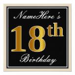 [ Thumbnail: Elegant, Black, Faux Gold 18th Birthday + Name Invitation ]