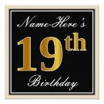 [ Thumbnail: Elegant, Black, Faux Gold 19th Birthday + Name Invitation ]