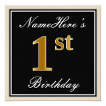 [ Thumbnail: Elegant, Black, Faux Gold 1st Birthday + Name Invitation ]