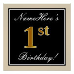 [ Thumbnail: Elegant, Black, Faux Gold 1st Birthday + Name Poster ]