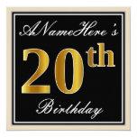 [ Thumbnail: Elegant, Black, Faux Gold 20th Birthday + Name Invitation ]