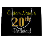 [ Thumbnail: Elegant, Black, Faux Gold 20th Birthday + Name Gift Bag ]