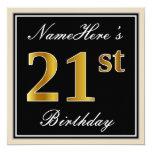 [ Thumbnail: Elegant, Black, Faux Gold 21st Birthday + Name Invitation ]
