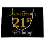 [ Thumbnail: Elegant, Black, Faux Gold 21st Birthday + Name Gift Bag ]