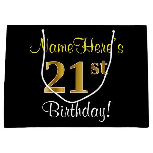 Elegant, Black, Faux Gold 21st Birthday + Name Large Gift Bag