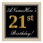 [ Thumbnail: Elegant, Black, Faux Gold 21st Birthday + Name Poster ]