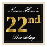 [ Thumbnail: Elegant, Black, Faux Gold 22nd Birthday + Name Invitation ]