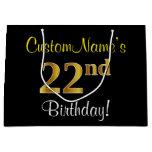 [ Thumbnail: Elegant, Black, Faux Gold 22nd Birthday + Name Gift Bag ]