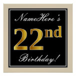 [ Thumbnail: Elegant, Black, Faux Gold 22nd Birthday + Name Poster ]