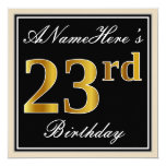 [ Thumbnail: Elegant, Black, Faux Gold 23rd Birthday + Name Invitation ]