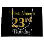 [ Thumbnail: Elegant, Black, Faux Gold 23rd Birthday + Name Gift Bag ]