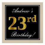[ Thumbnail: Elegant, Black, Faux Gold 23rd Birthday + Name Poster ]