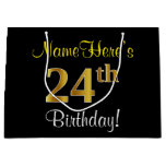[ Thumbnail: Elegant, Black, Faux Gold 24th Birthday + Name Gift Bag ]