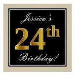 [ Thumbnail: Elegant, Black, Faux Gold 24th Birthday + Name Poster ]