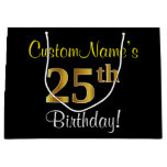 [ Thumbnail: Elegant, Black, Faux Gold 25th Birthday + Name Gift Bag ]