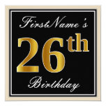 [ Thumbnail: Elegant, Black, Faux Gold 26th Birthday + Name Invitation ]