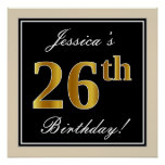 [ Thumbnail: Elegant, Black, Faux Gold 26th Birthday + Name Poster ]