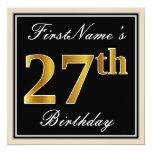 [ Thumbnail: Elegant, Black, Faux Gold 27th Birthday + Name Invitation ]