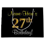 [ Thumbnail: Elegant, Black, Faux Gold 27th Birthday + Name Gift Bag ]