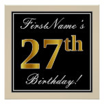 [ Thumbnail: Elegant, Black, Faux Gold 27th Birthday + Name Poster ]