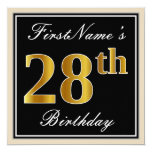[ Thumbnail: Elegant, Black, Faux Gold 28th Birthday + Name Invitation ]
