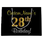 [ Thumbnail: Elegant, Black, Faux Gold 28th Birthday + Name Gift Bag ]