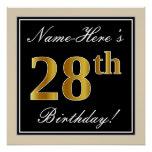 [ Thumbnail: Elegant, Black, Faux Gold 28th Birthday + Name Poster ]