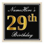 [ Thumbnail: Elegant, Black, Faux Gold 29th Birthday + Name Invitation ]