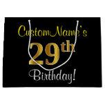[ Thumbnail: Elegant, Black, Faux Gold 29th Birthday + Name Gift Bag ]