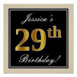 [ Thumbnail: Elegant, Black, Faux Gold 29th Birthday + Name Poster ]
