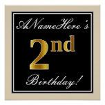 [ Thumbnail: Elegant, Black, Faux Gold 2nd Birthday + Name Poster ]