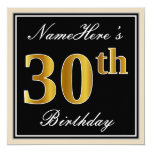 [ Thumbnail: Elegant, Black, Faux Gold 30th Birthday + Name Invitation ]